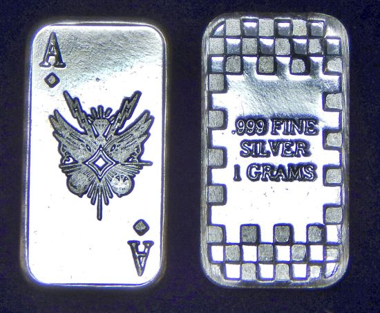 CMC 1 Gram Silver Bar - Ace of Diamonds