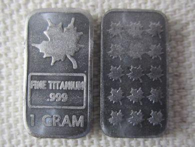 TITANIUM 1 GRAM MAPLE LEAF BULLION
