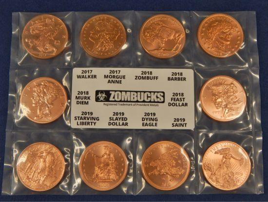 1 oz Copper Round Slayed Dollar Zombucks
