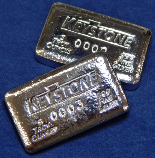Keystone Precious Metals 5 Troy Oz Poured Silver Bar