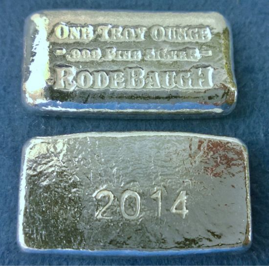 Rodebaugh 2014 Classic 1 Troy Ounce Poured Silver Bar